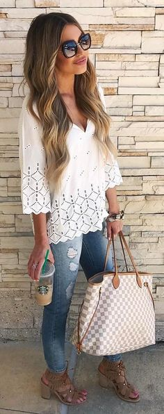 #summer #outfits  White Blouse + Ripped Skinny Jeans + Gingham Tote Bag