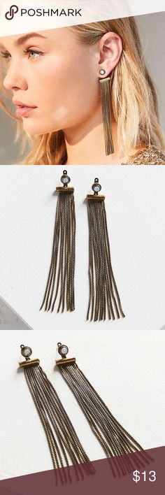 """Faye Fringe Front/Back Earring Chandelier drop Shimmy + shake up your look with these fringed front/back earrings. Featuring a round stone stud post with metal framing complete with dramatic, shoulder-grazing chain fringe strands with a light-catching finish for an unapologetically bold look.  Content + Care - Copper, zinc, glass - Wipe clean - Imported  Size - Length: 4.72"""" - Width: 0.63"""" Urban Outfitters Jewelry Earrings"""