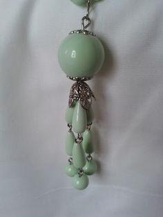 Light Green Vintage Beaded Tassle Necklace by LilyAndEllieShop, $16.00