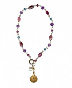 My delicate Gold Lotus Flower Bracelet, hand wrapped chain in berry colors and tourmaline.