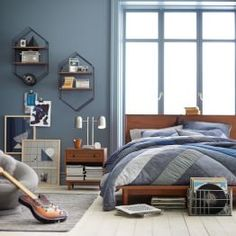 Shop Pottery Barn Teen's accent rugs to complete the room with a pop of color. Choose from Pottery Barn Teen's selection of area rugs and make your room stand out. Teen Bedroom Furniture, Boys Bedroom Decor, Lounge Furniture, Blue Bedroom, Bedroom Colors, Bedroom Wall, Bedroom Ideas, Guy Dorm Rooms, Room Inspiration