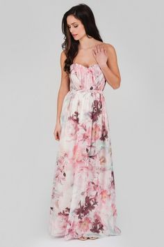 Look fanciful in floral this season in the eye catching floral pleated maxi dress. In a range of pink hues this jaw dropping dress features an on trend detai...