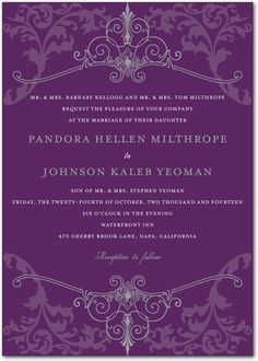 Purple wedding invite. About $230 for invite, response, and enclosure card @karen F