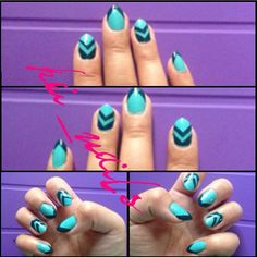 Dark teal & turquoise chevron nail art design in Essie's - Where's my chauffeur & Go overboard