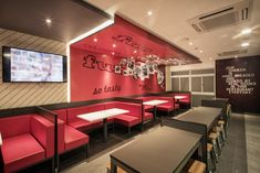 Established in 2009 by Abigael Tay, Obllique is an interior design consultancy based in Singapore. Small Restaurant Design, Restaurant Seating, Burger Restaurant, Restaurant Concept, Fast Food Restaurant, Resturant Interior, Booth Seating, Restaurant Interior Design, Cafe Design