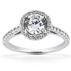 Ladies 14 Kt White Gold Halo Diamond Engagement Ring
