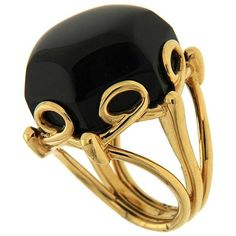Special Cut Hexagon Onyx Gold Ring ($4,700) ❤ liked on Polyvore featuring jewelry, rings, black, onyx ring, onyx jewelry, gold jewelry, hexagon jewelry and gold jewellery