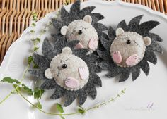 There are 3 little and cute hedgehogs. Hedgehogs are a colorful handmade 100 % wool felt. These product made from 100 % merino wool felts. Certified safe for babies and children. Its water repellent and environmentally friendly - biodegradable. Its *OEKO-TEX certified to be free of harmful toxic chemicals Not toy, the hedgehog is not recommend for children under 3. I hope you are happy using my products, such as love and joy as I made them! Hedgehog size is: from the top of the bottom 7…