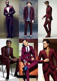 The burgundy suit is versatile and stylish. Which look is your choice? Maroon Suit, Burgundy Suit, Sharp Dressed Man, Well Dressed, Suit Fashion, Mens Fashion, Look Formal, Dapper Men, Costume