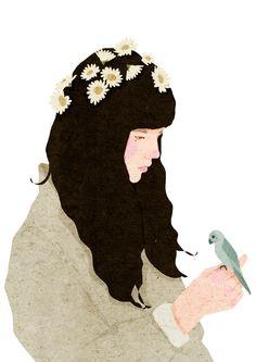 49 trendy flowers in hair illustration anime art Hair Illustration, Bird Drawings, Illustrations And Posters, Aesthetic Art, Art Inspo, Art Girl, Flower Art, Art Paintings, Hair Art