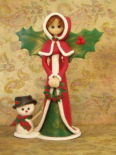 Polymer clay Christmas doll fimo