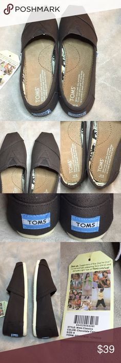 New! Toms classic canvas choco size 6 Toms classic canvas choco size 6  Item number : 001001B10-CHOCO - This is a Toms Womens Classic Slip-on.  - New condition WITHOUT box.   ** price is already low! Please don't lowball!! TOMS Shoes Flats & Loafers