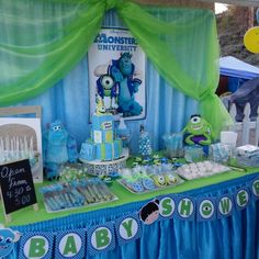 Monster inc candy bar! Monsters Inc Baby Shower, Monster Baby Showers, Monster Inc Party, Monster Birthday Parties, Angel Baby Shower, Baby Boy Shower, Baby Boy 1st Birthday Party, Baby Shower Themes, Shower Ideas