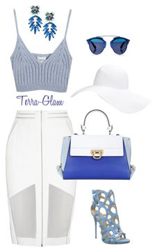 """Whose In Blue?"" by terra-glam ❤ liked on Polyvore featuring Chicnova Fashion, Christian Dior, Forever 21, Dion Lee, Giuseppe Zanotti, Salvatore Ferragamo and DANNIJO"