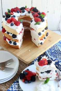 1-2-3 Fourth of July Cake - Fourth of July Cake Ideas - Southernliving. Cut and angel food cake into three layers (freezing the cake first makes cutting it easier) then spread your favorite whipped topping and fresh red and blue berries in between the layers and on top of cake.  Click here to see the pin.