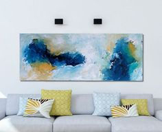 LATEST ABSTRACT Painting Free Shipping Wall Art Original Painting Blue White 100 CM Large Canvas Blue Texture Palette Knife Pastel Art
