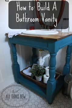 How to build an open farmhouse-style bathroom vanity with butcher block top. Painted Annie Sloan Chalk Paint Aubusson.