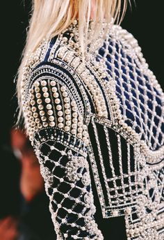 Balmain Fall 2012 - pearl details  Not my style, but I really like this