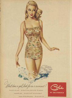 1949 swimsuit advertising, Cole of California vintage bathing suit ad. Badeanzugwerbung Vintage Badeanzuganzeige Cole of California. Vintage Bathing Suits, Vintage Swimsuits, Vintage Outfits, Vintage Girls, Vintage Advertisements, Vintage Ads, Vintage Designs, Vintage Stuff, Pierre Balmain