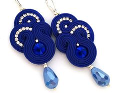 Wholesale Discount Jewelry Soutache earrings - Cobalt earrings - birthday gift for girlfriend - Gift for wife - Gift for daughter - Gift for sister - wholesale jewelry - Earrings Handmade, Handmade Jewelry, Kobalt, Red Earrings, Bridal Earrings, Hippie Jewelry, Jewlery, Silver Jewelry, Discount Jewelry