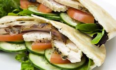 Roast Turkey and Vegetable Pita These roast turkey pockets are filled with delicious sesame mayo goodness!