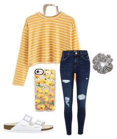 """yellow"" by faithjones1223 on Polyvore featuring Hollister Co., River Island, Birkenstock and Casetify"
