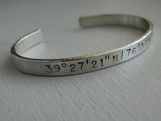 Personalized mens or womens thick sterling silver hand stamped cuff. Names,dates,lat and long,memory cuff by JoDeneMoneuseJewelry on Etsy