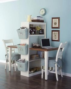 My bookshelves are set up like this...I like the basket idea for the side! Awesome!