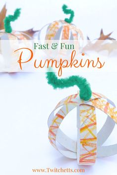 This is a fast & fun fall craft! It can be an assisted toddler craft, or a older kids craft. These cute little toilet paper tube pumpkins can be placed around the house to add a little fall to your decor.