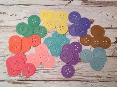 Button confetti, paper confetti, paper buttons, mixed colour confetti, gift wrapping accessories, envelope seals by PinkyPromiseBargains on Etsy