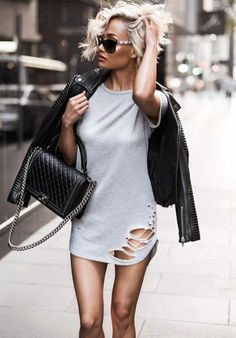 LIGHT GREY SHORT DRESS & BLACK LEATHER JACKET