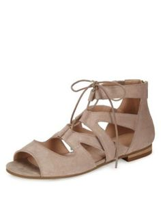 Suede Cuff Lace Up Sandals | M&S