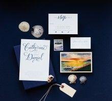 """""""Calligraphy Accent"""" Letterpress Invitation, No.2 - Antiquaria"""