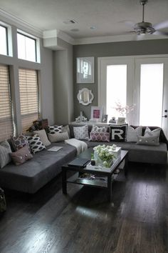 love this set up, colors, furniture, but maybe with pop of color from pillows or rug would make perfect