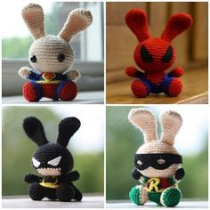 """Super cute superheroes Bunnies ( Adapted from the """"Spring Bunnies"""" Pattern) Free Amigurumi Pattern: -  Click here to get Free PDF File: http://makezineblog.files.wordpress.com/2011/04/pattern132_spring-bunny.pdf"""