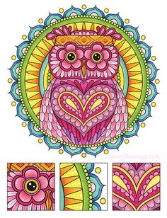 Hippie Owl Coloring Page from Thaneeya McArdle's Hippie Animals Coloring Book