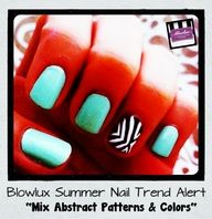 Mix Bright Turquoise Nail Polish with Abstract Black  White Designs (@Courtney Baker Floria)