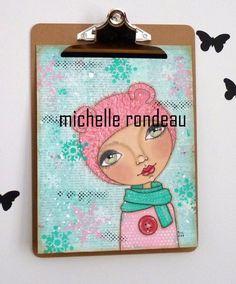Original Mixed Media Pink Winter Girl Painting Art Journal