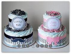 Little Lady petit homme gâteau de couches Baby shower par MsPerks