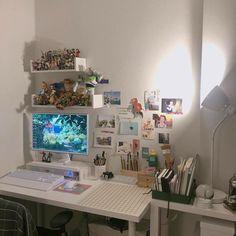 Room Design Bedroom, Room Ideas Bedroom, Bedroom Decor, Gaming Room Setup, Pc Setup, Desk Setup, Otaku Room, Study Room Decor, Game Room Design