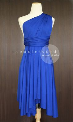 Possible Bridesmaid dress, it's convertible so they could each wear it differently - Cobalt Blue Bridesmaid Convertible Dress Infinity by thedaintyard