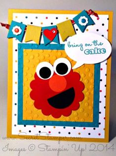 Elmo Punch Art - Word Bubble Framelit and Banner Punch Stampin' Up! Birthday Cards For Boys, Bday Cards, Handmade Birthday Cards, Happy Birthday Cards, Greeting Cards Handmade, Birthday Kids, Kids Punch, Tarjetas Diy, Punch Art Cards