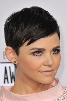 Ginnifer Goodwin Straight Black Pixie Cut Hairstyle | Steal Her Style