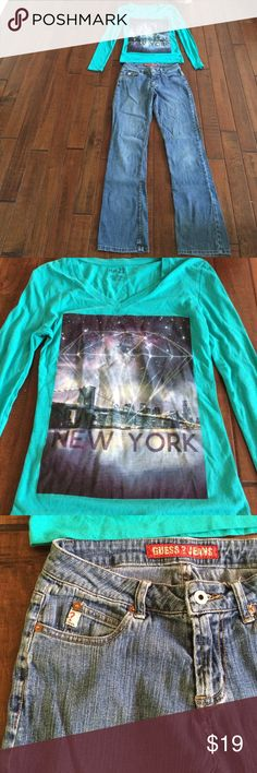 Aqua New York shirt (new w/o tag) & Guess jeans Shirt is Rue 21 size S, 60% cotton & 40% polyester.  Jeans are size 28, 55% ramie, 43% cotton, 2% spandex, in good used condition with minor wear. GUESS Jeans