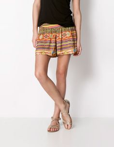 Bershka United Kingdom - BSK ethnic print shorts