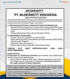Lowongan Kerja Batam PT. McDermott Indonesia (21/12/2020) Batam, Diagram, Personalized Items