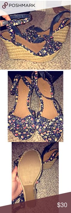 MIA floral heels🌸 Perfect condition four inch wedges that were bought but never worn. No tears, scuffs or any sign of wear Mia Shoes Wedges