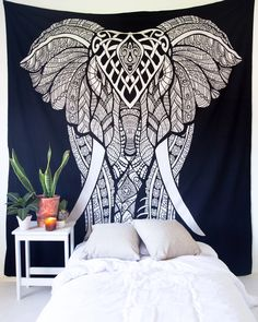 More Decor More Life: Bohemian Elephant Tapestry/Wall hanging Size x 225 cm) % cotton Whatsapp: 961 3 998 520 961 71040999 All Rights Reserved Bohemian Fabric, Bohemian Room, Bohemian Tapestry, Mandala Tapestry, Mandala Art, Black Gold Bedroom, Black White Bedrooms, Tapestry Bedroom, Tapestry Wall Hanging