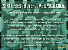 Strategies to Overcome Dyscalculia: Dyscalculia makes math hard, but there are strategies to overcome it. #dyscalculia #math