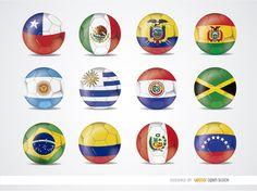 Copa América 2015 bolas de la bandera del equipo